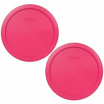New Pyrex 7402-PC 6/7 Cup Fuschia Pink Round Plastic Lid 2PK for Glass Dish