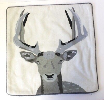 Henry & Friends Stag Embroidered Cushion Cover Home Decor Silver Thread