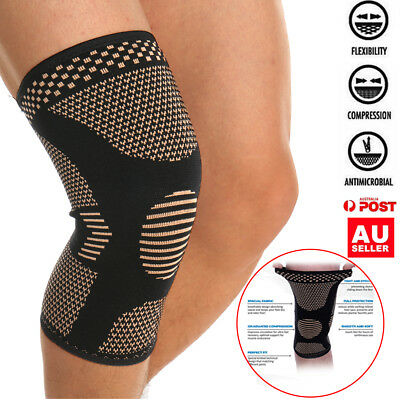 Copper Compression Knee Brace Support Sleeve Strap Pad Arthritis Pain Sports Gym