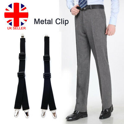 2pc Mens Elastic Y Band Garters Non Slip Socks Shirt Stays Holder Clip Suspender