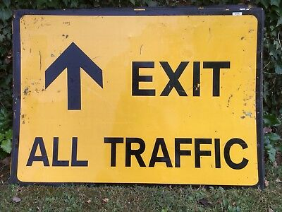 """EXIT ALL TRAFFIC STRAIGHT"" Traffic Control Management Road Sign"