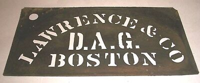 "Vintage Brass Wooden Box/crate Stencil, ""lawrence & Co"", D.a.g. Boston 3"" X 6"""
