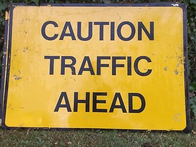 """CAUTION TRAFFIC AHEAD"" Traffic Control Management Road Sign"