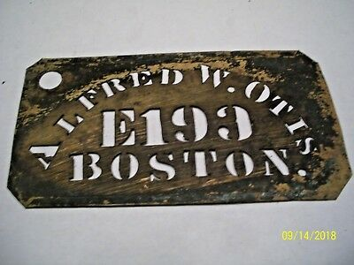"Vintage Brass Wooden Box/crate Stencil, ""alfred W. Otis"" E199 Boston 3 1/4"" X 6"""