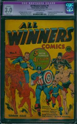 All Winners Comics # 1  Cap, Torch, Sub-Mariner !  CGC 3.0 scarce GA Timely !