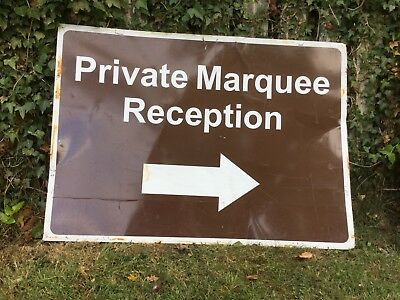 """PRIVATE MARQUEE RECEPTION RIGHT"" Traffic Control Management Road Sign"