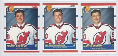 1990-91 NHL Hockey Cards - Lot of 3 Martin Brodeur RC - Score English & French
