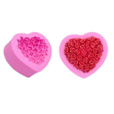 3D Handmade Rose Flower Heart Shape Cake Mould DIY Silicone Soap Chocolate Mold