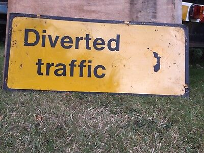 """Diverted Traffic"" Traffic Control Management Road Sign"