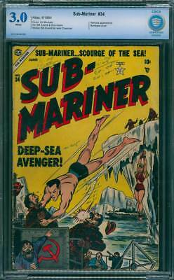 Sub-Mariner Comics # 34  Scourge of the Sea !   CBCS 3.0 scarce GA Timely !