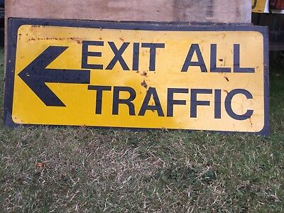"""EXIT ALL TRAFFIC LEFT"" Traffic Control Management Road Sign"