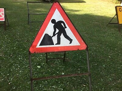 """MEN AT WORK / ROADWORKS + SUPPLEMENTARY"" Traffic Control Management Road Sign"