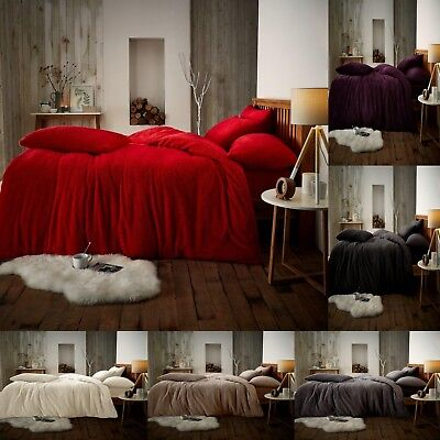 Luxury Teddy Fleece Duvet Covers Cosy Warm Soft Quilt Bedding Set / Fitted Sheet