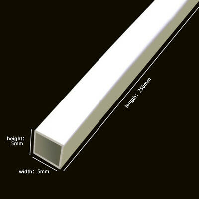 5 X ABS Plastic Square Tube White Hollow Bar DIY Model 3x3x250mm To 6x6x250mm