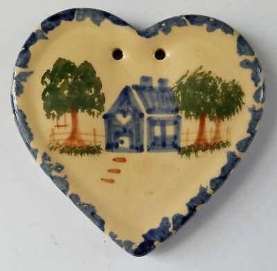 Hanging Porcelain Heart Shaped by Alpine Pottery Roseville Ohio