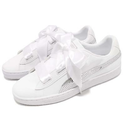 b92b4d9eeb986e Puma Basket Heart Bling JR White Silver Kid Junior Casual Shoe Sneaker  366847-02