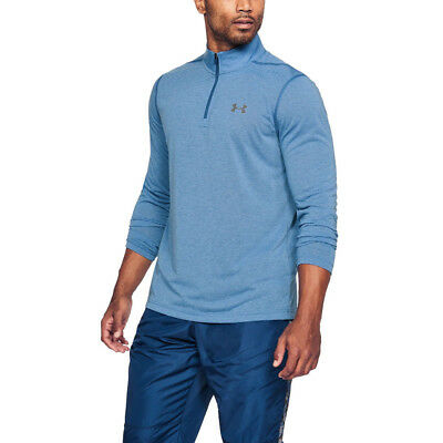 Under Armour Mens Threadborne Fitted 1/4 Zip Training Gym Fitness Top Blue