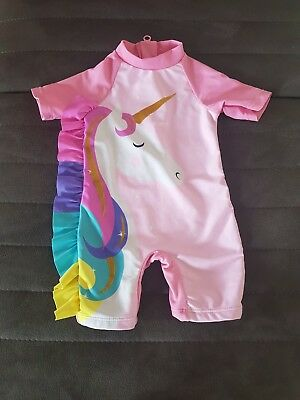 Baby Girls Unicorn All In One Swimsuit 3-6 Months