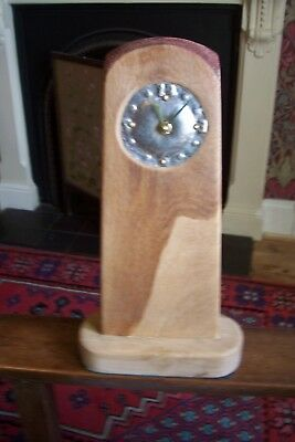 "Handmade oak and stainless steel arts and crafts style mantel clock, ""Sunset"""