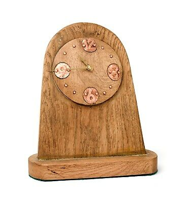 "Handmade oak and copper arts and crafts style mantel clock, ""Oakheart"""