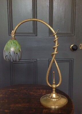 Arts & Crafts Art Nouveau Rare Serpent Lamp Lampe With Signed Schneider Shade