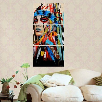 3 Pieces Canvas Art American Indian Canvas Feathered Painting Wall PicturesÇD