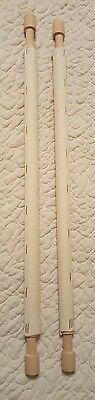 """One pair of 18"""" Wooden Scroll Rods with 16"""" Fabric Webbing - New / Unused"""