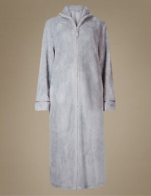 LADIES ZIP/BUTTON FRONT Soft Fleece Hooded Long Dressing Gown ...
