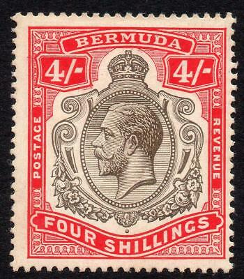 Bermuda 4/- Stamp c1918-22 Mounted Mint SG52b (back a little messy)
