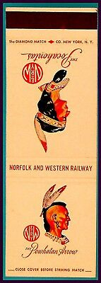 MINT 1950s Norfolk & Western Railroad Matchbook Cover - Powhatan Arrow