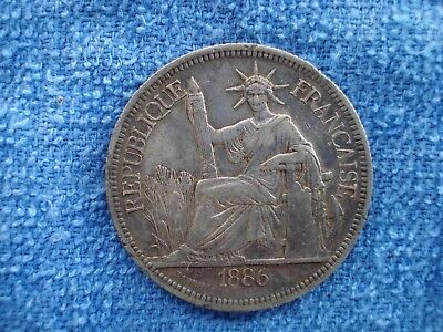1886A French Indo China 1 Piastre Silver Coin