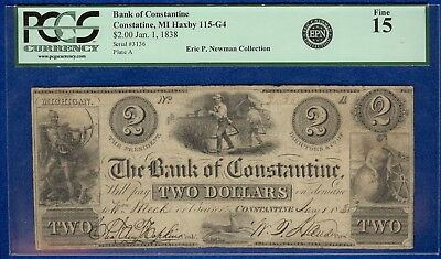 $2 The Bank of Constantine, MI Banknote PCGS Fine 15 - Eric P. Newman Collection