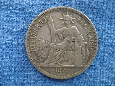 1899A French Indo China 1 Piastre Silver Coin