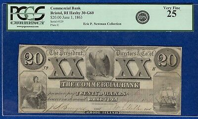 $20 Commercial Bank Bristol, Rhode Island Banknote  - Eric P. Newman Collection