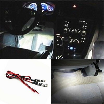 2X 3-SMD Ultra white LED Strip Lights For CAR Cup Holder Glove Box Foot Area JB