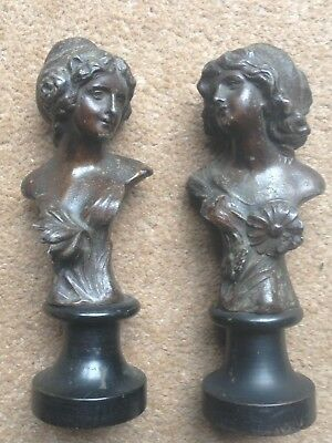 Lovely Pair Of Victorian Bronzed Spelter Neo Classical Busts