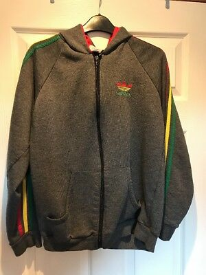 Very Rare Vintage Adidas Made In UK Grey Zip Up Hoody Top Size M