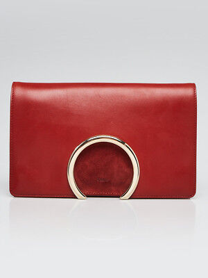 Chloe Saffron Red Leather and Suede Gabrielle Clutch Bag