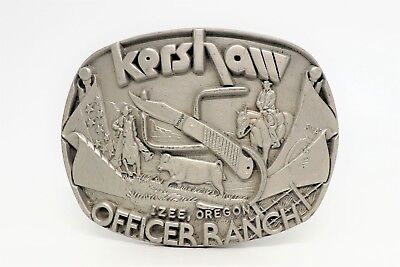 Vintage Kershaw Officer Ranch Pewter Numbered Edition Belt Buckle #06272