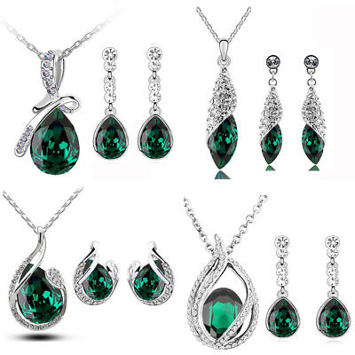 Emerald Green Jewellery Set Christmas New Earrings Pendant with Necklace Chain