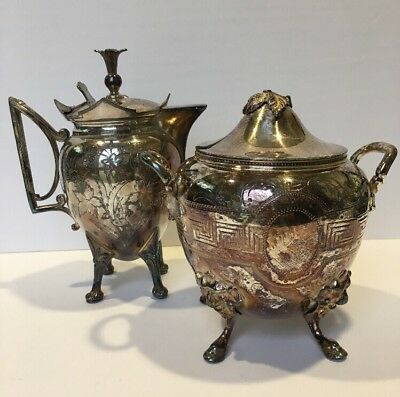 Antique Aesthetic Creamer And Lidded Sugar - Nonmatching