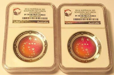 Lot of 2 - 2014 Australia $1 Southern Sky Orion Colorized / Domed Coin NGC PF70