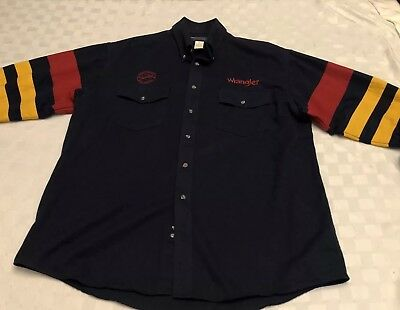 Vintage WRANGLER PBR Men's XL Embroidered Western Rodeo Button Up Shirt