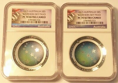 Lot of 2 - 2013 Australia Southern Sky Pavo Colorized / Domed Coin NGC PF70 UCAM