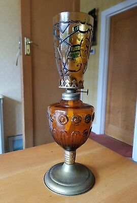 Vintage 1950s Antique Colourful Amber Glass Pixie Wick Parafin Oil Lamp on Stand