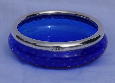 Nathan & Hayes Chester 1902 Hallmarked silver rim blue bubble Art Glass bowl