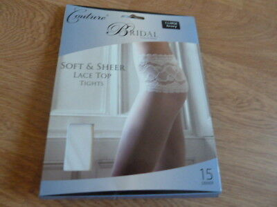 Coture Bridal Collection X Large Ivory Soft & Sheer Lace Top Tights. New