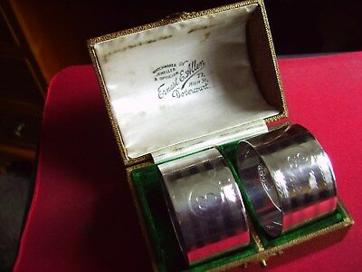 Pair Of Hallmarked Sterling Silver Napkin Rings In Original Box As Bought