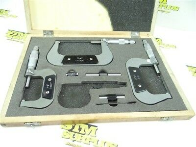 """Set Of 3 Machinists Precision Ratcheting Micrometers 1-4"""""""