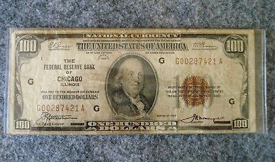 1929 Federal Reserve Bank of Chicago  $100. Dollar Bill -  #421